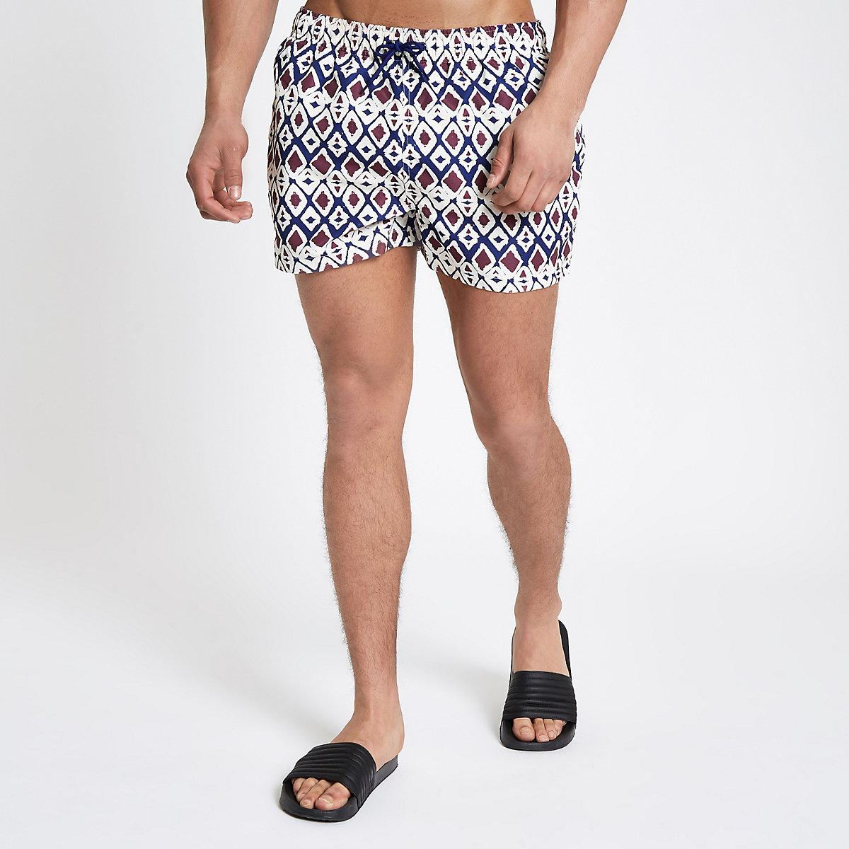 Ecru primal print short swim trunks