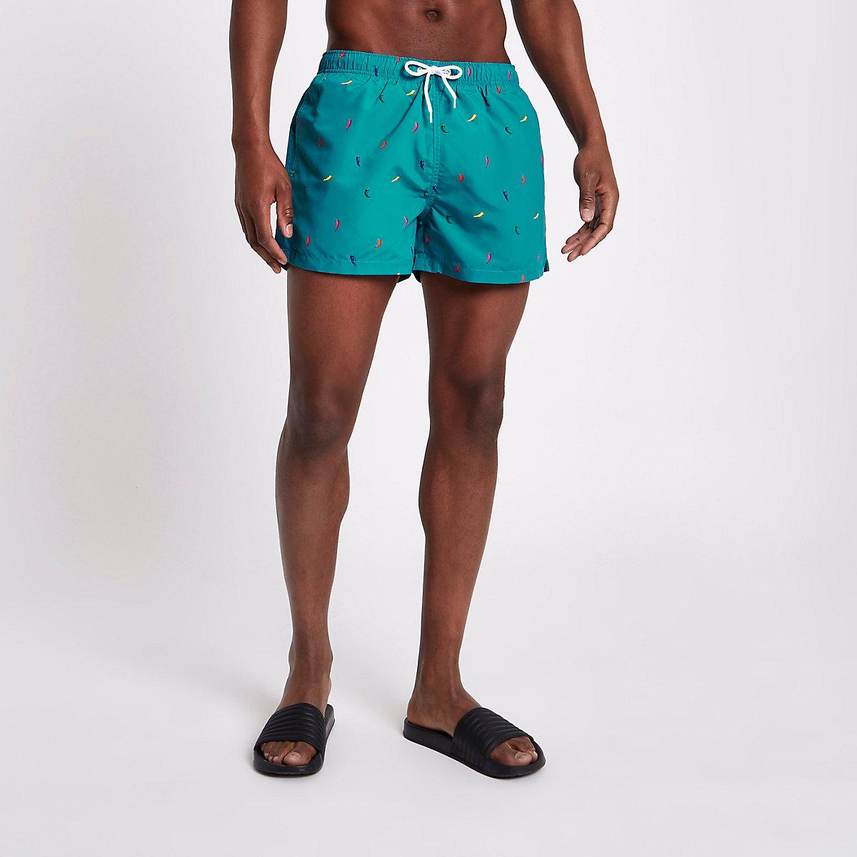 Green chilli print short swim trunks