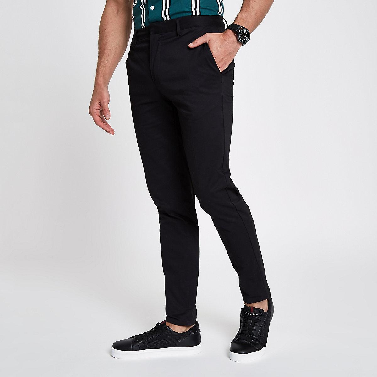 Schwarze, kurze Skinny-Chino