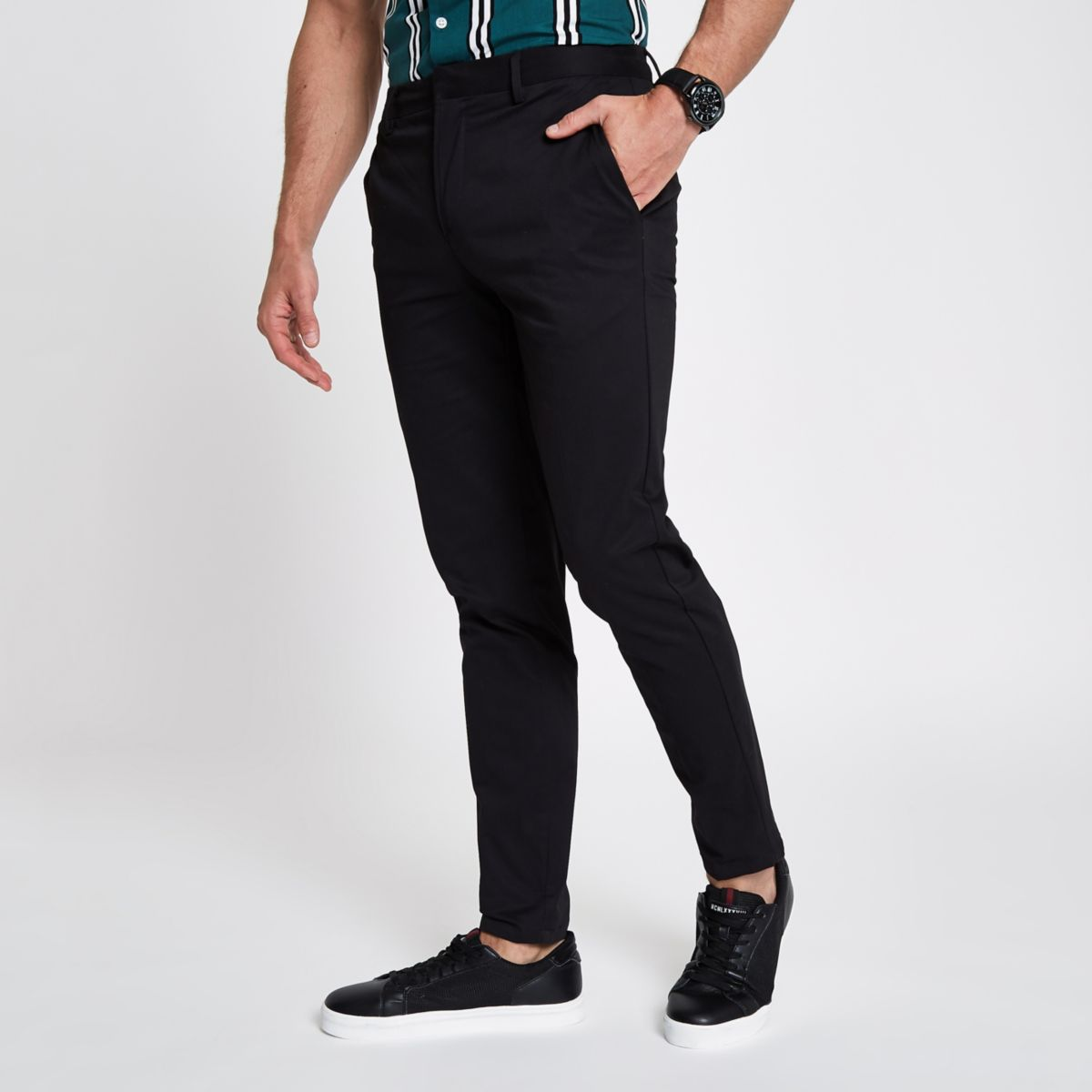 Black cropped skinny chino trousers
