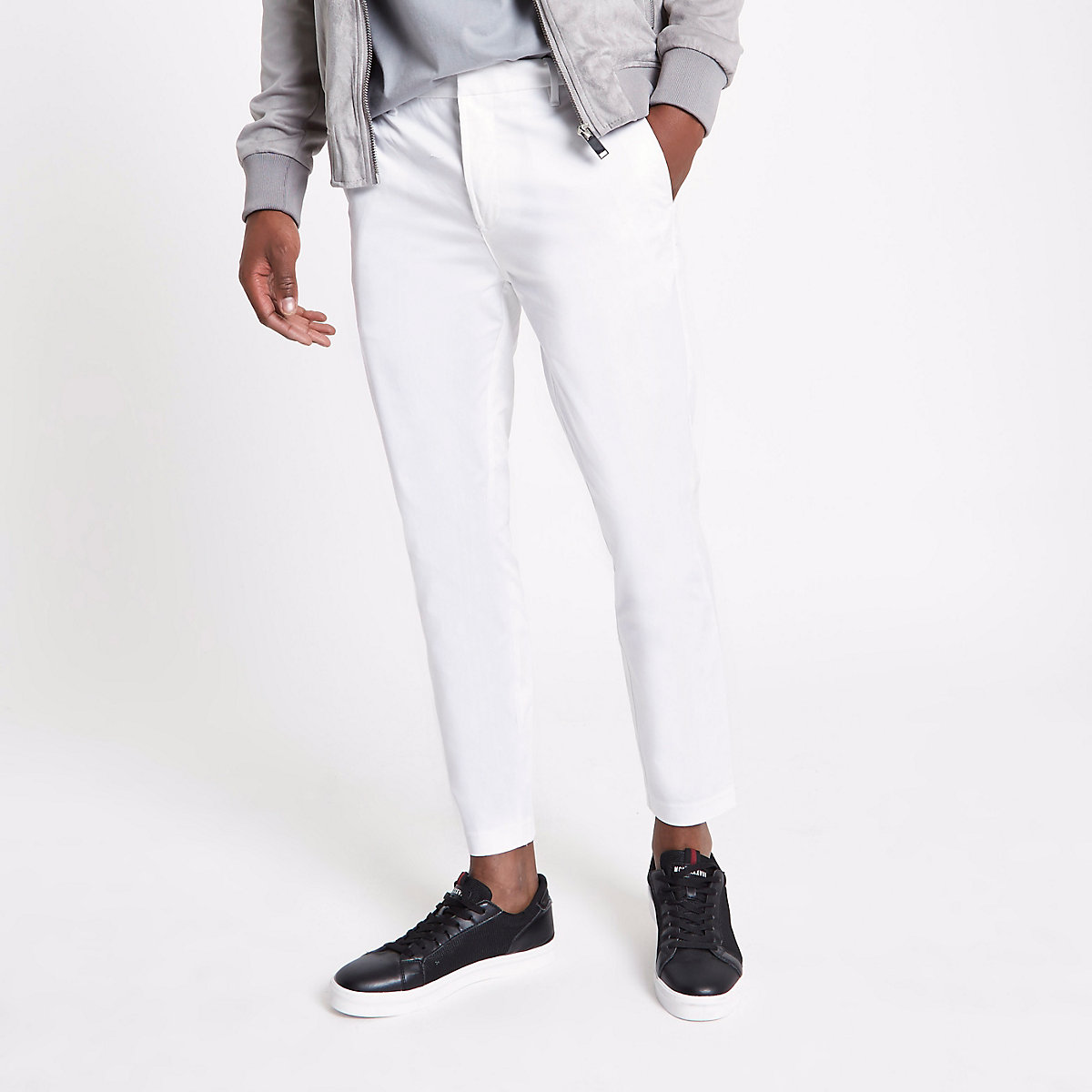 White cropped skinny chino trousers
