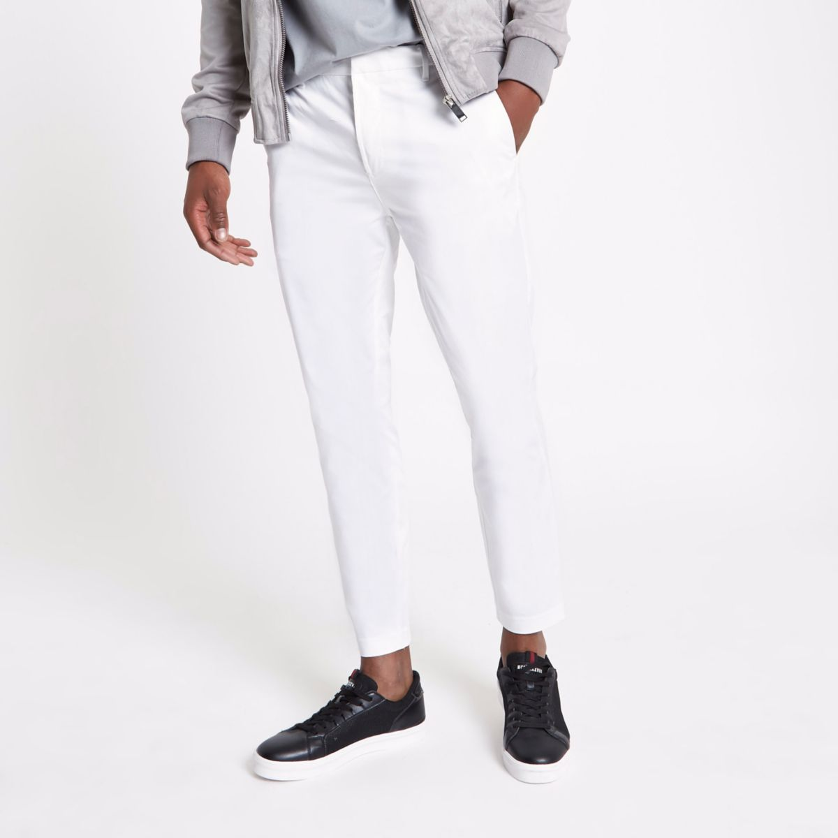 White cropped skinny chino pants