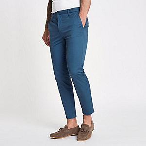 Pantalon chino skinny bleu court