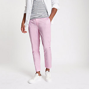 Roze cropped skinny chino