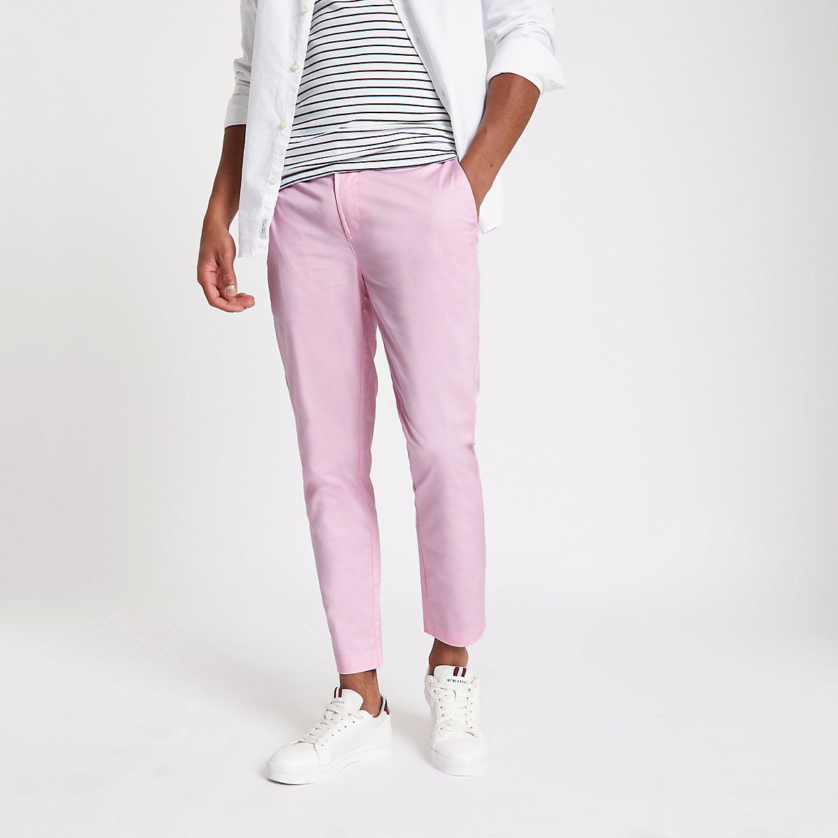 Pink cropped skinny chino trousers