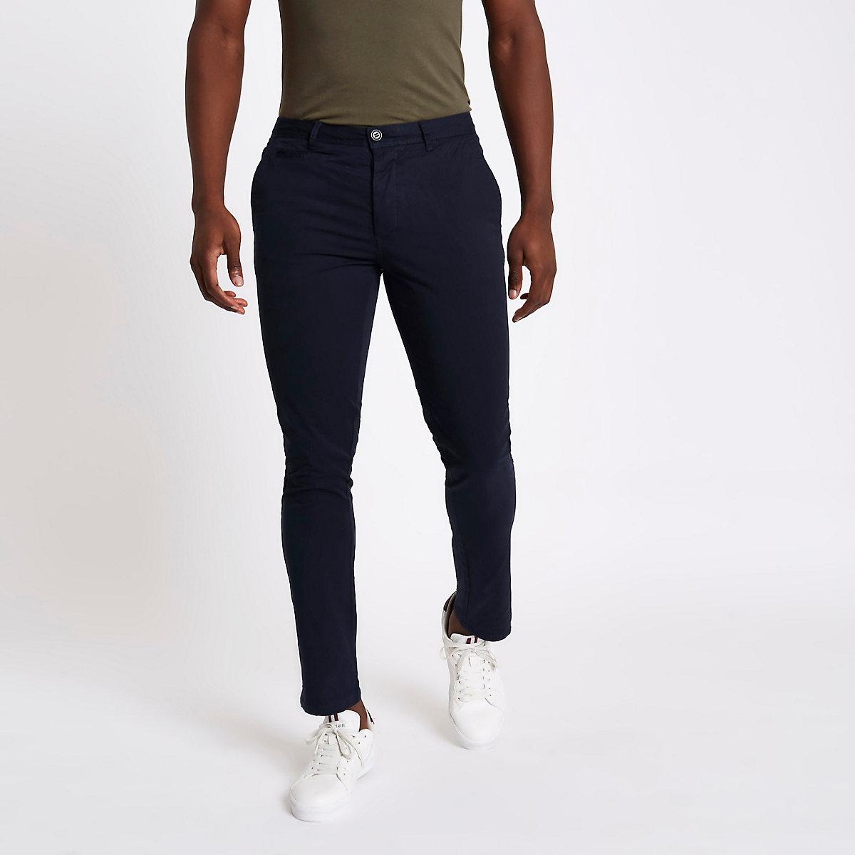 Navy skinny chino trousers