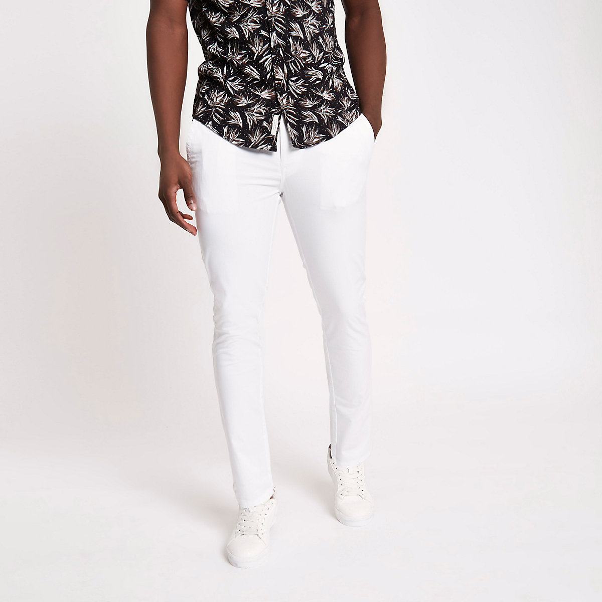 White skinny chino trousers