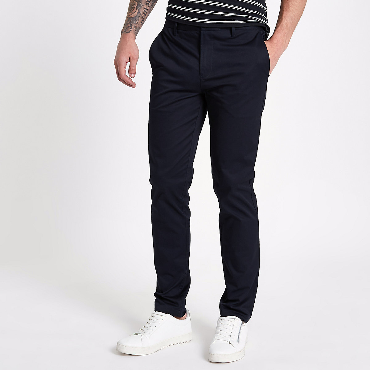 Navy slim fit chino trousers