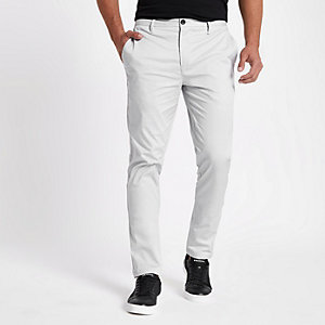 Grey slim fit chino pants