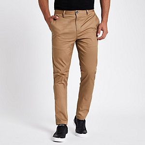 Tan slim fit chino pants