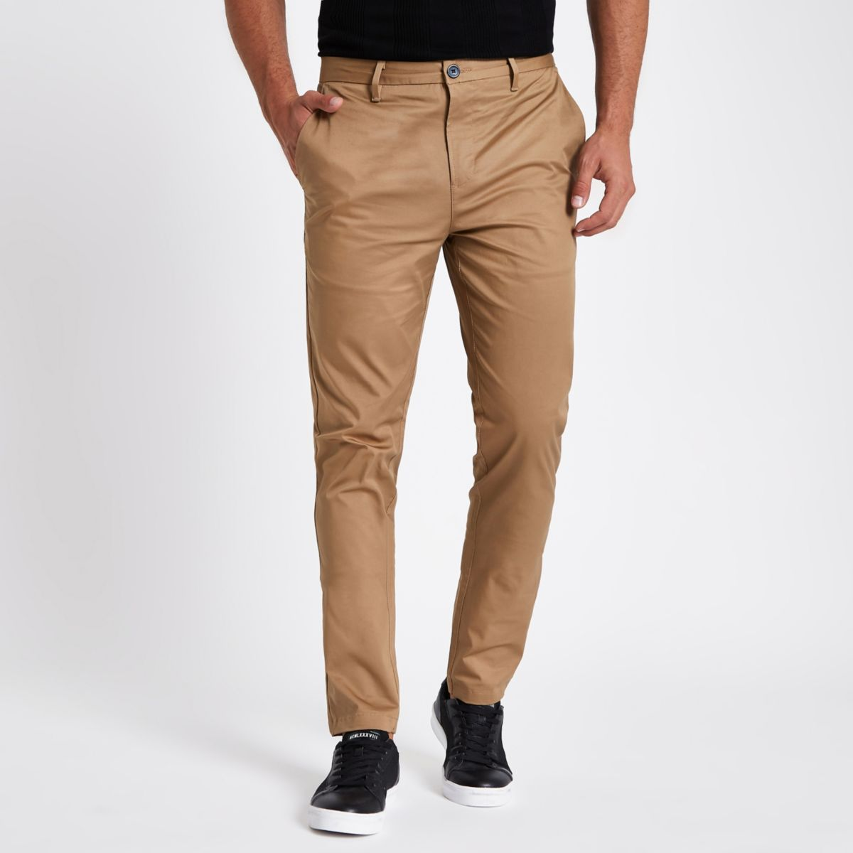 Tan slim fit chino trousers