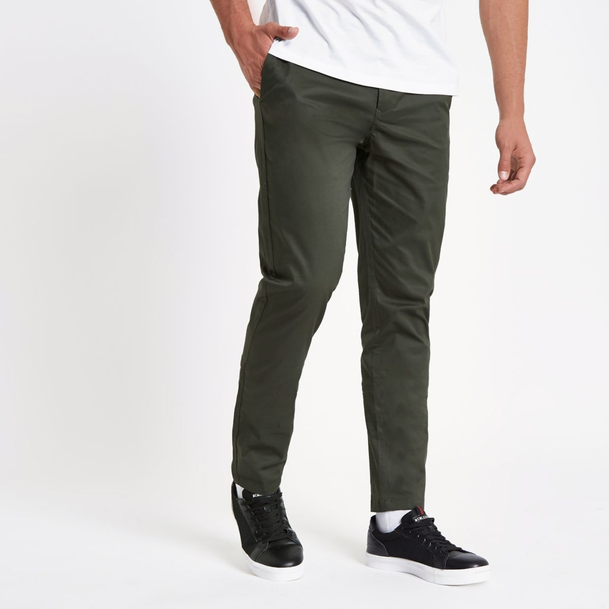 Khaki slim fit chino pants