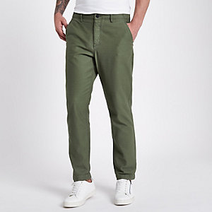 Kaki slim-fit smaltoelopende chino