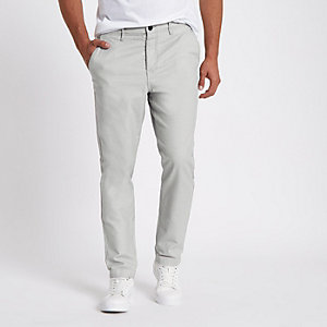Grey slim fit tapered chino trousers