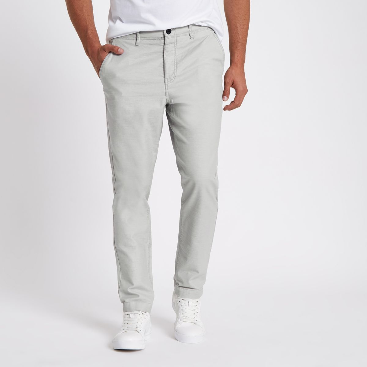 Grey slim fit tapered chino pants