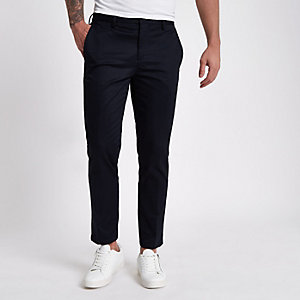 Marineblauwe slim-fit chino