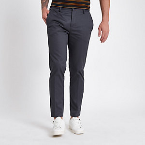 Donkergrijze slim-fit chino