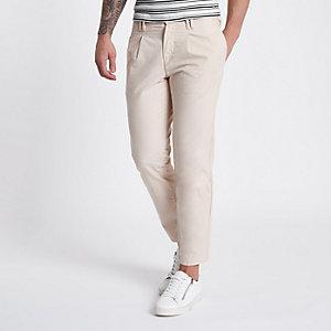 Pantalon chino grège fuselé