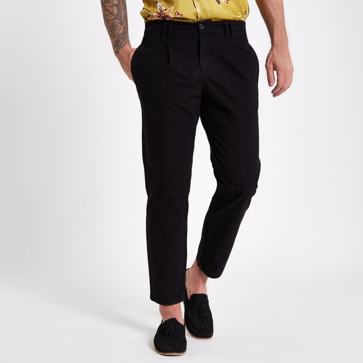 Washed black tapered chino trousers