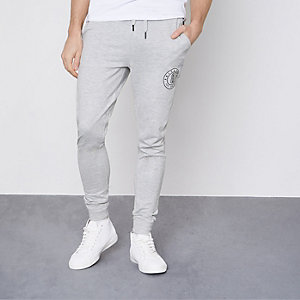 Grey marl Only & Sons logo joggers