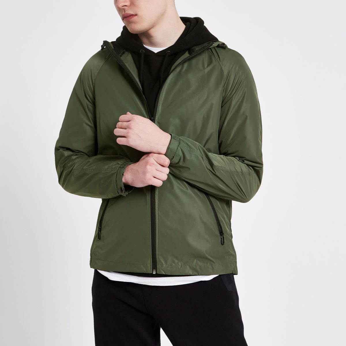 Only & Sons khaki lightweight hooded jacket