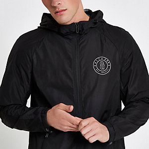 Only & Sons black lightweight hooded jacket