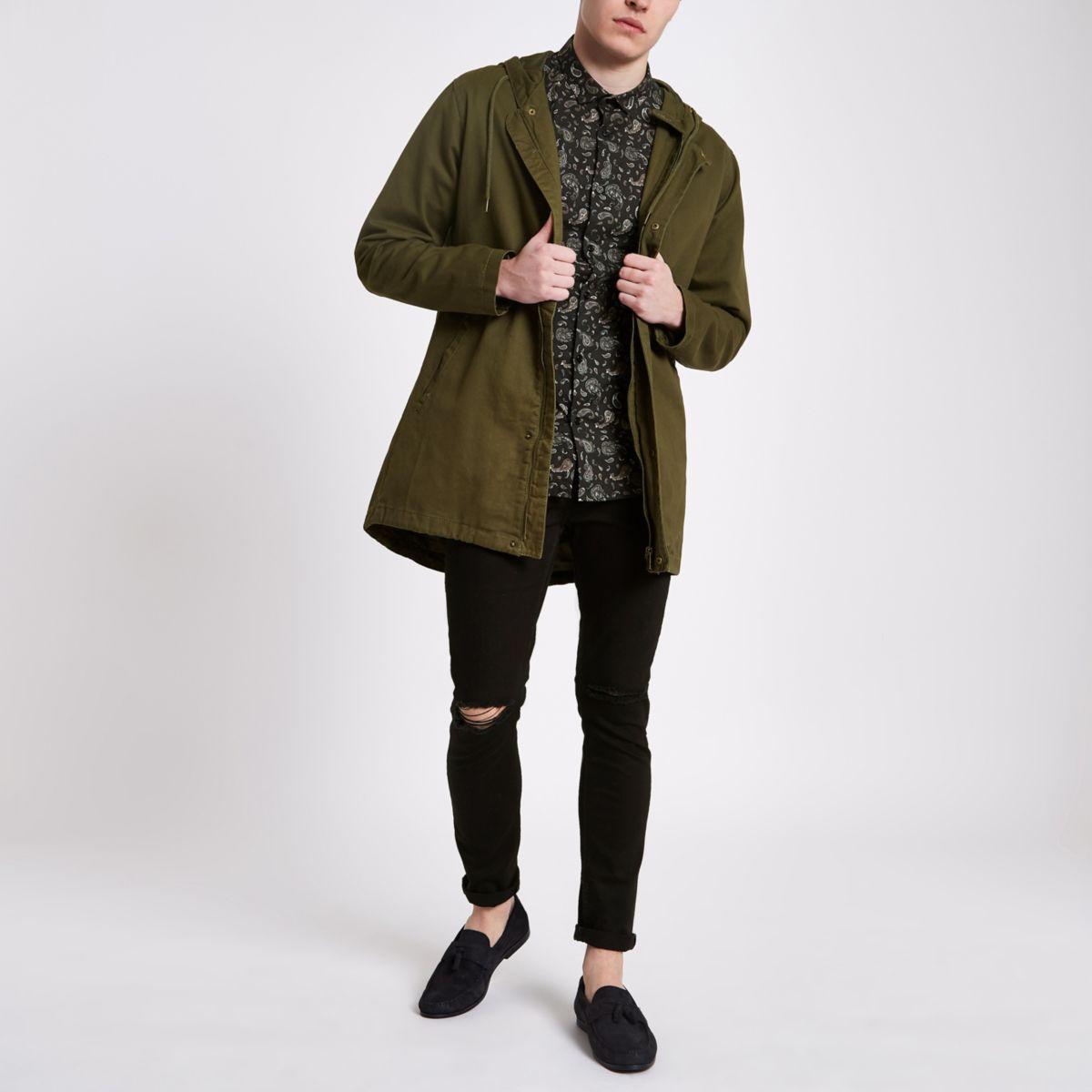 Only & Sons khaki green hooded parka jacket