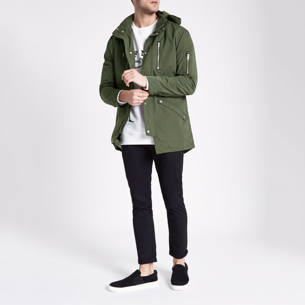 Only & Sons khaki hooded parka jacket