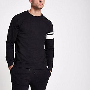 Only & Sons black stripe crew neck sweatshirt