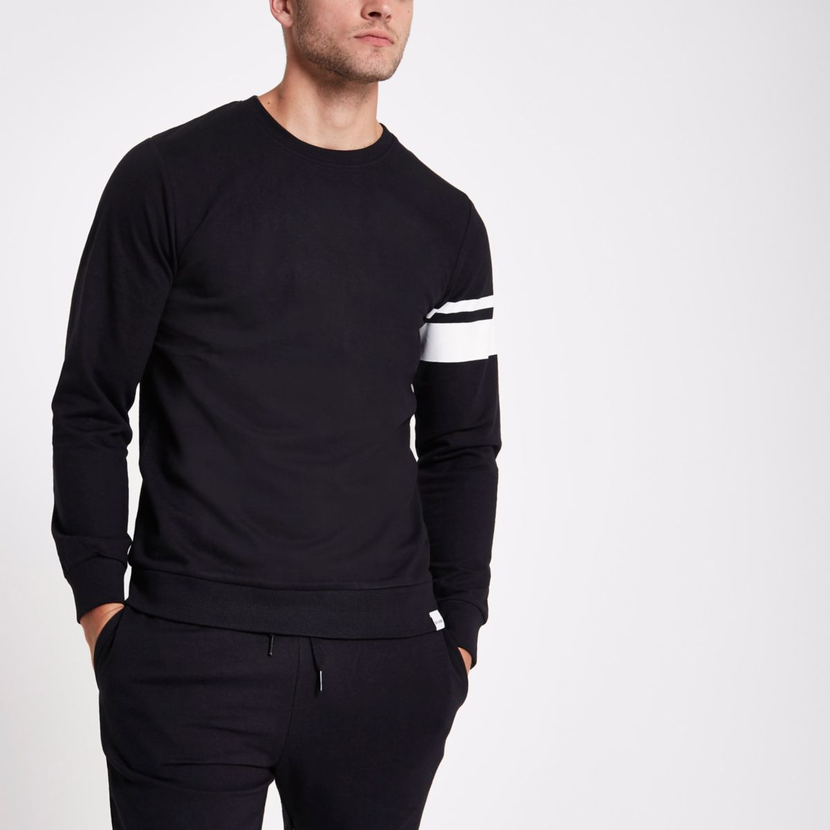 Only & Sons black stripe crew neck sweatshirt
