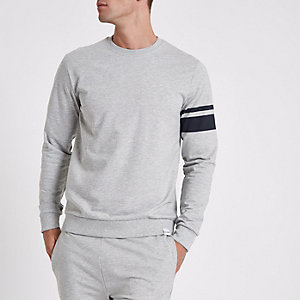 Only & Sons grey stripe crew neck sweatshirt