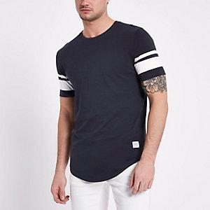 Only & Sons – Marineblaues T-Shirt mit Streifen