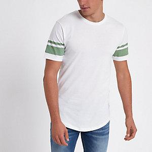 Only & Sons – T-shirt rayé blanc