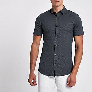 Only & Sons - Marineblauw overhemd met print en korte mouwen