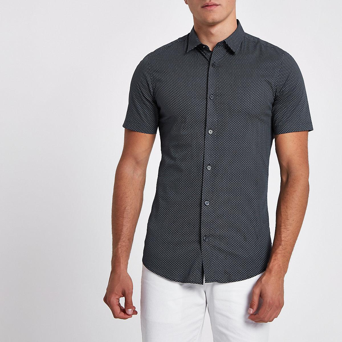 Only & Sons navy short sleeve print shirt