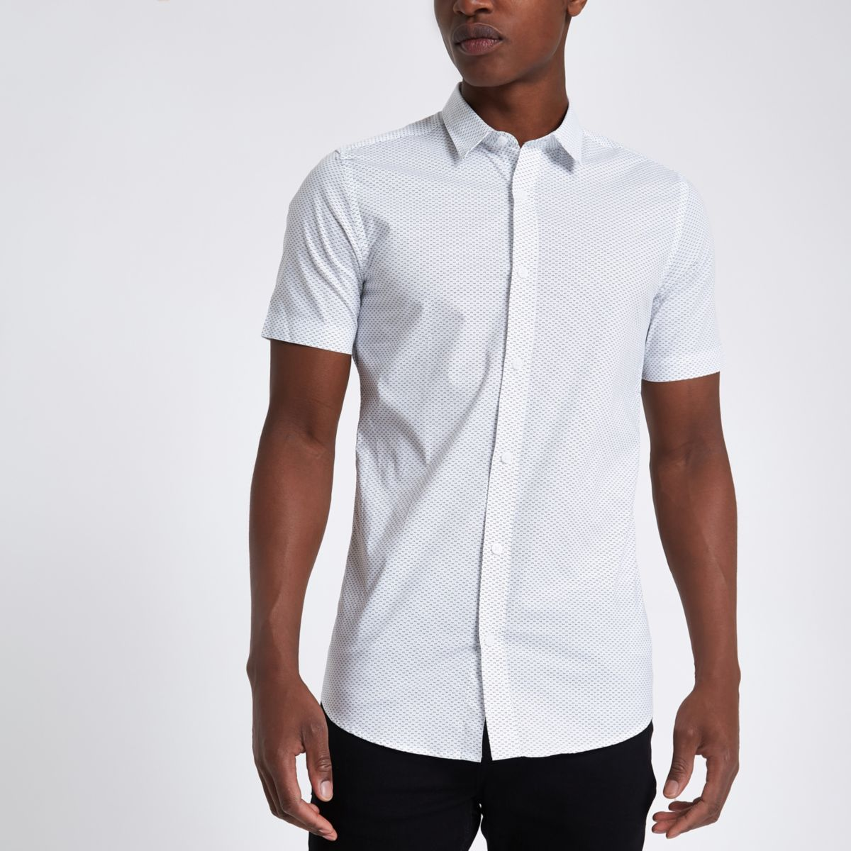 Only & Sons white short sleeve print shirt
