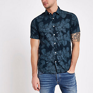 Only & Sons - Marineblauw slim-fit overhemd met bloemenprint