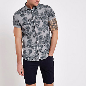 Only & Sons grey floral slim fit shirt