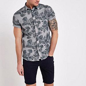 Only & Sons - Grijs slim-fit overhemd met bloemenprint