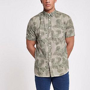 Only & Sons - Kaki slim-fit overhemd met bloemenprint