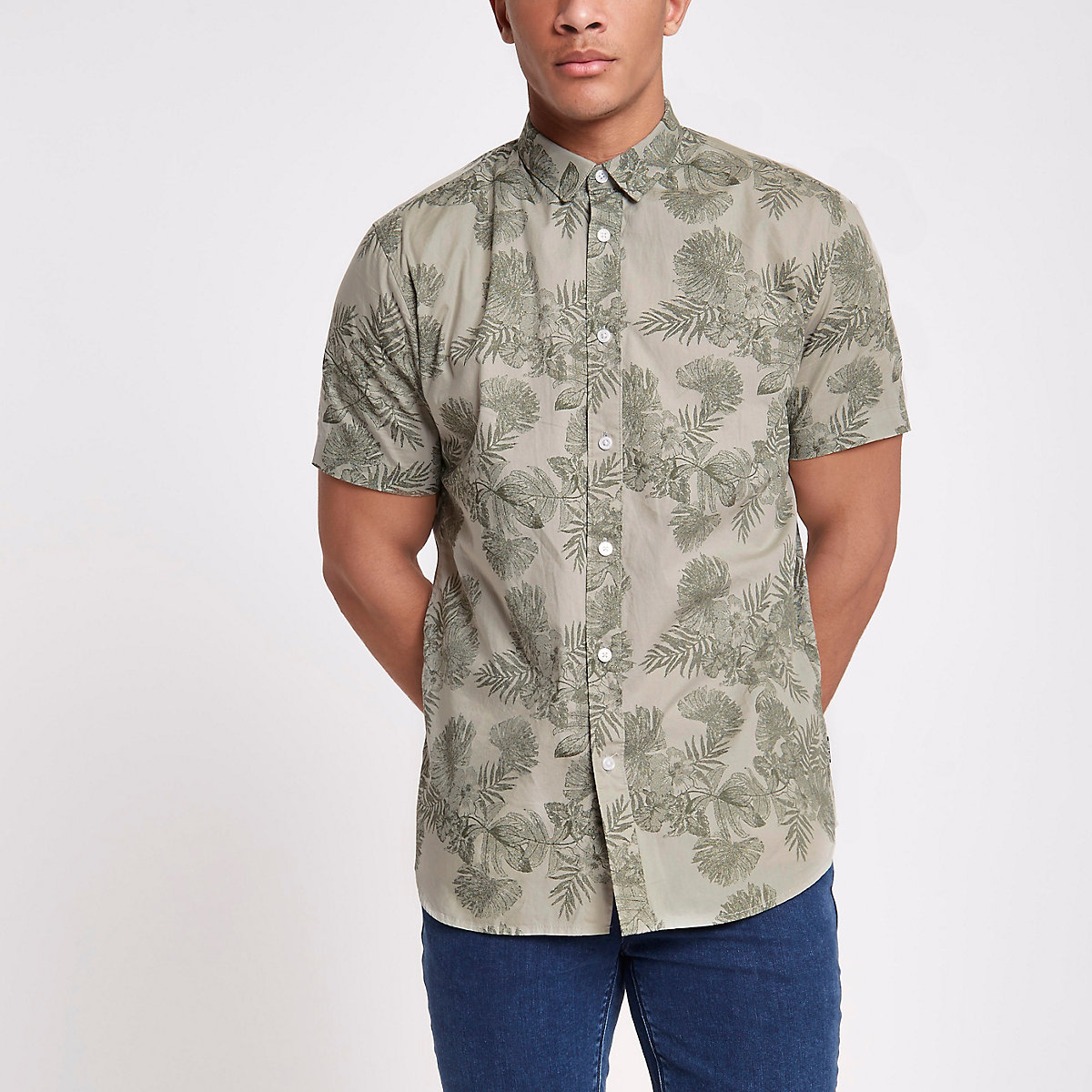 Only & Sons khaki floral slim fit shirt