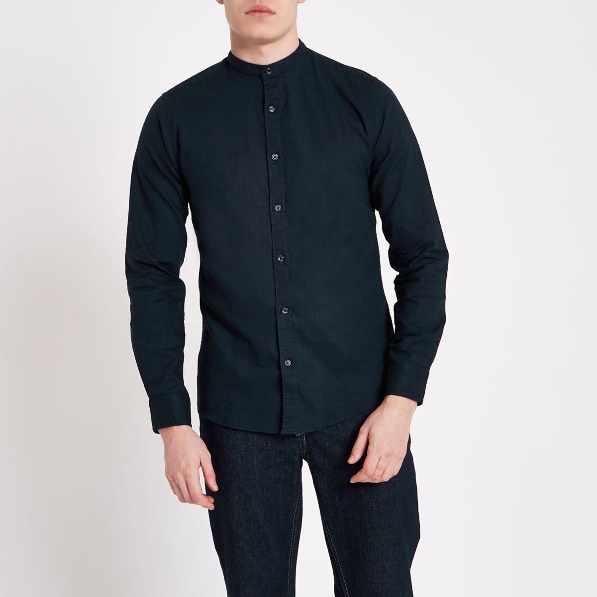 Only & Sons navy grandad Oxford shirt