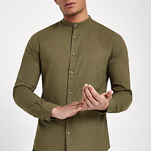Only & Sons - Kaki slim-fit overhemd zonder kraag