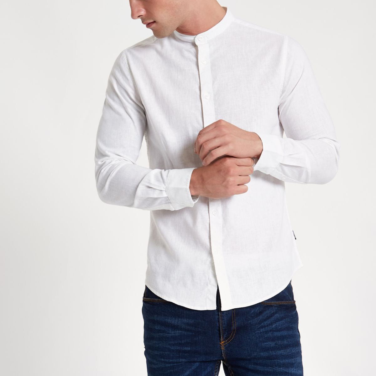 Only & Sons white slim fit Oxford shirt