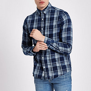 Only & Sons blue check Oxford shirt
