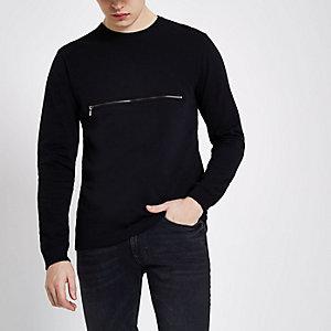 Only & Sons - Zwarte pullover met rits en ronde hals