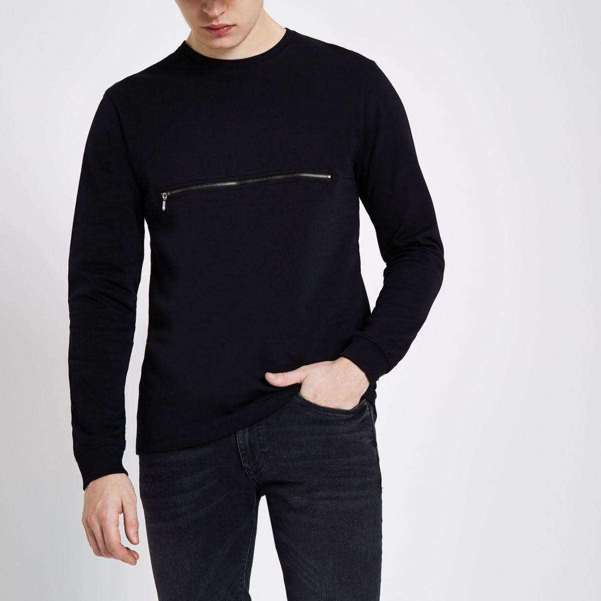 Only & Sons black zip crew neck sweater