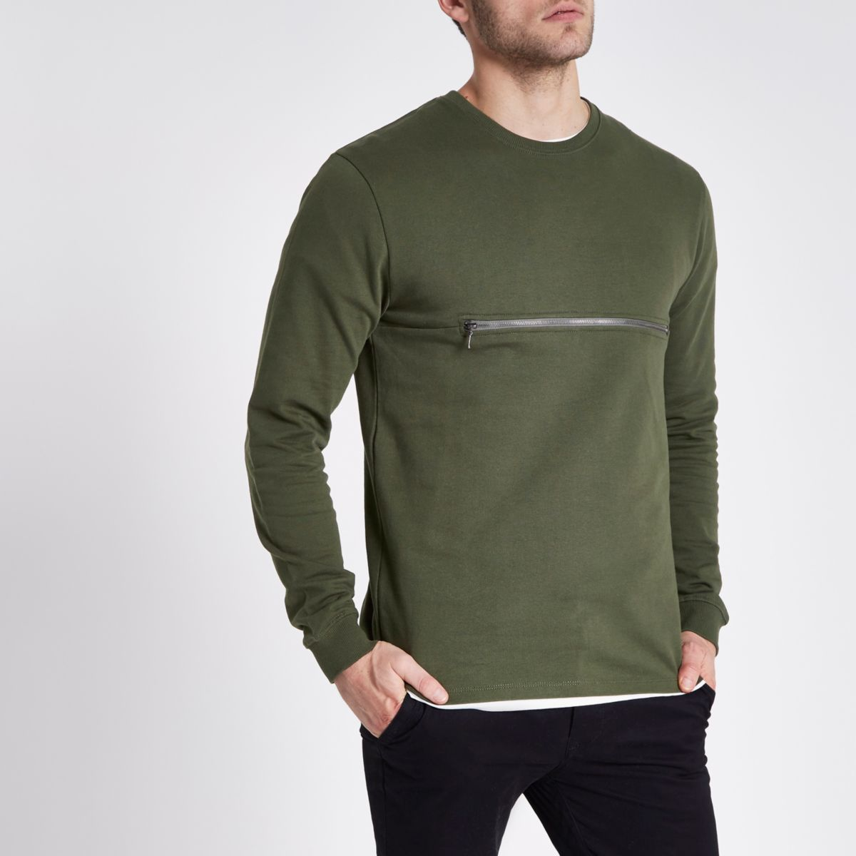 Only & Sons green crew neck jumper