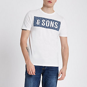 Only & Sons white slim fit T-shirt