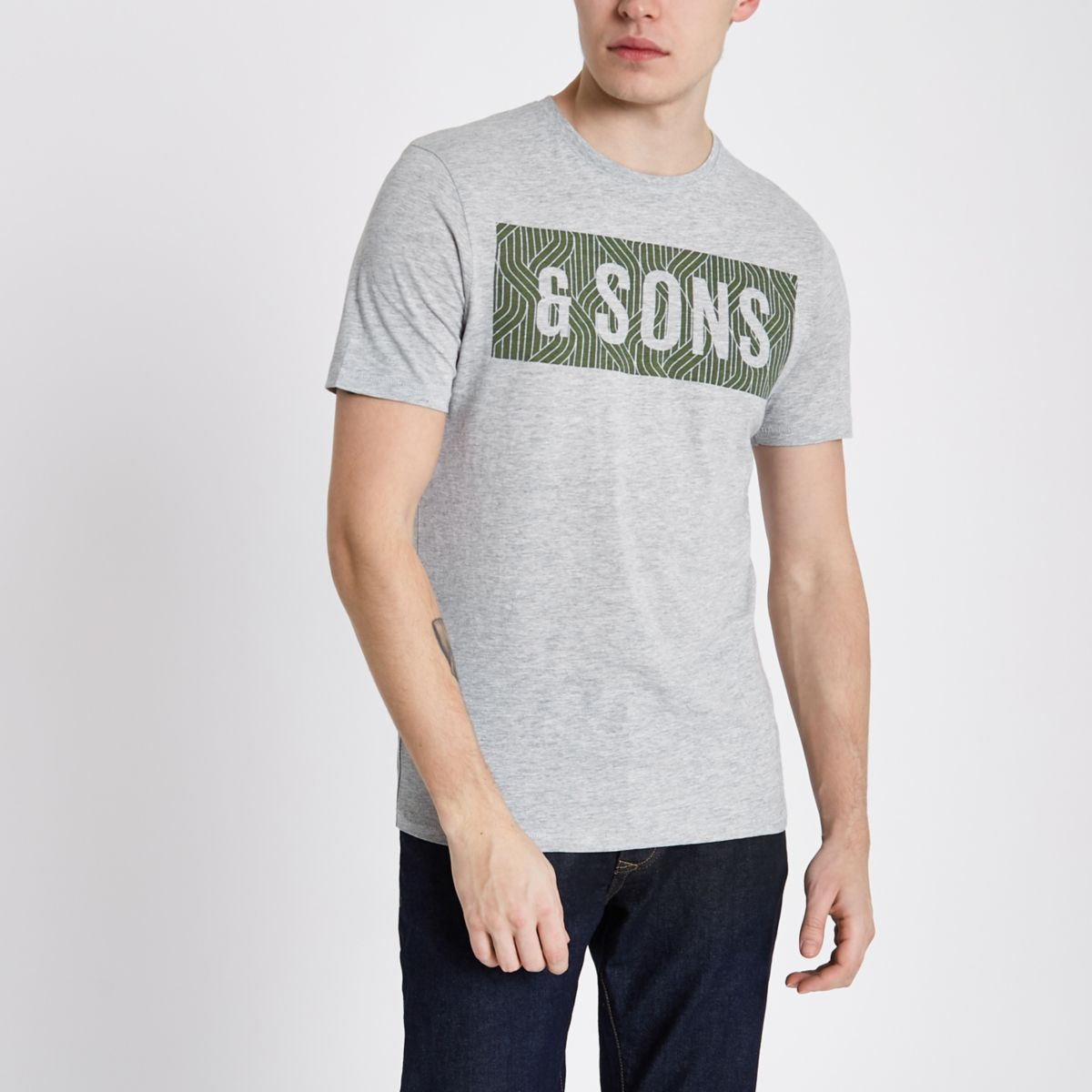 Only & Sons grey slim fit T-shirt